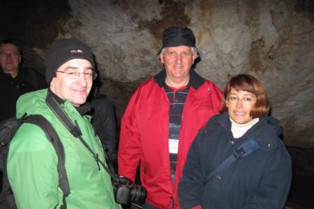 Slovenian team in Dobsinska Ice Cave: Stanislav Glažar, Peter Štefin, Ksenija Dvorščak